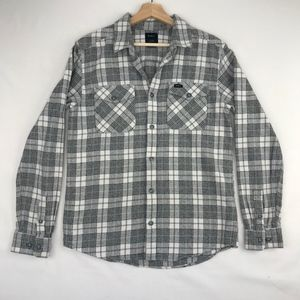 RVCA That'll Work Flannel Long Sleeve Shirt Gray S